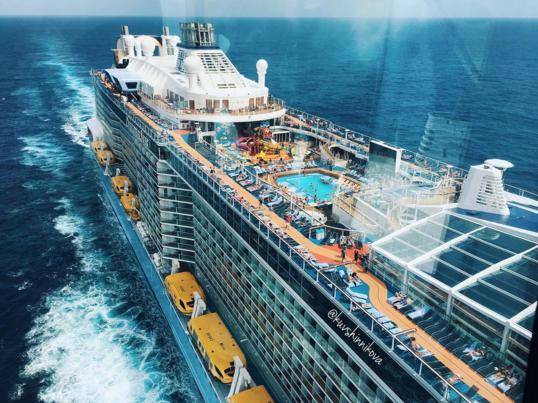 Ovation Of The Seas, вид из смотровой кабины судна.